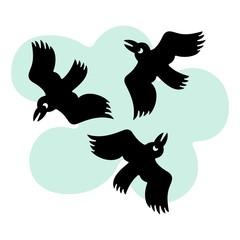 Round flying birds
