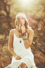Fashion Portrait of Beautiful Young Woman