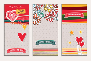 Banner happy birthday vector illustration. You can use it for events, invitation, banner, brochure, brochures. Illustration composed of balloons, ribbons, fireworks, heart. Cartoon style