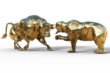 bear and bull fighting, stock exchange concept