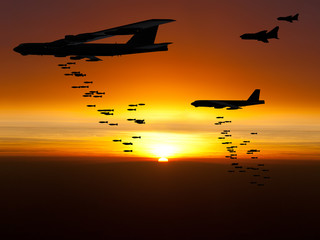 Vietnam War Era bombers dropping bombs with jet fighter aircraft escorting them at sunset. (Artist's impression)