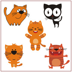 Cat set. Collection isolated cats on white background. Cartoon cat.
