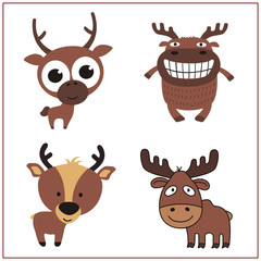 Deer set. Collection isolated deers on white background. Cartoon deer.