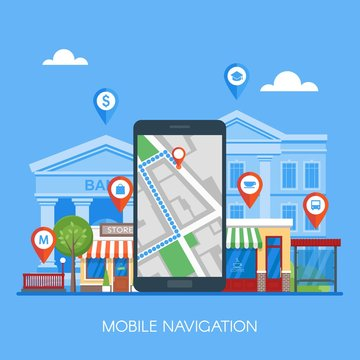 Mobile navigation concept vector illustration. Smartphone with gps city map on screen and route.