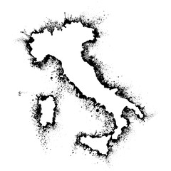 Italy and Sicily  map vector format in the spray paint stains, outline Artistic Card