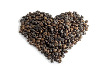 heart from coffee beans, isolated on white