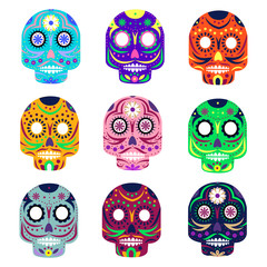 Mexican day of the dead concept vector illustration. Muerte festival. Colorful set skulls isolated on white background