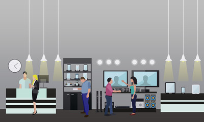 People shopping in a mall. Consumer electronics store Interior. Vector illustration. Design elements and banners flat style.