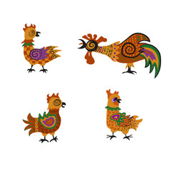 Set of colorful cock and hens. suitable for Chinese New Year 2017. Vector illustration. eps10