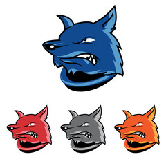 Angry Fox Cartoon Head Mascot in Color Variation