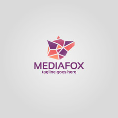 Geometric fox head logo. Media fox colorful logo on white background
