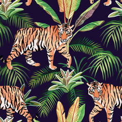 tiger in the jungle seamless background