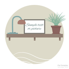 Flat scene with shelf, flower and picture frame for your text or photo