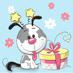 Greeting card cute Puppy with gift