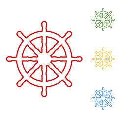 Ship wheel. Set of line icons