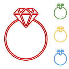 Diamond. Set of line icons