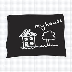 Simple doodle of a house drawn on a blackboard