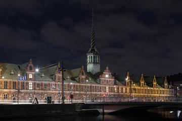 Copenhagen Stock Exchange building by night