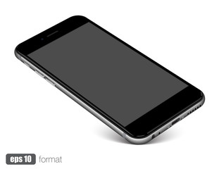 Smartphone with blank screen standing on corner, isolated on white background.