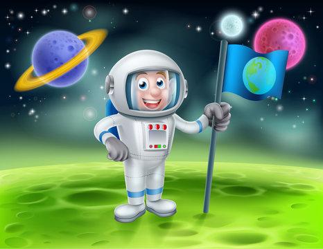 Cartoon Astronaut Alien Moon Scene