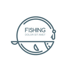 Vector fishing logo, label, badge, emblem design elements. Outline fish, fishing rod and hook illustration, isolated.