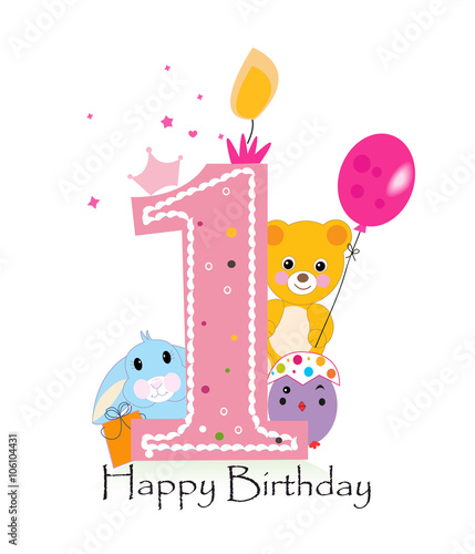 """First Birthday Candle With Animals Stock Photo: """"Happy First Birthday Candle. Baby Boy Greeting Card With"""