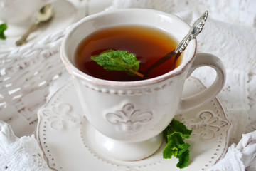 Black tea with mint for breakfast, English breakfast