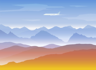 mountains peaks background with plane