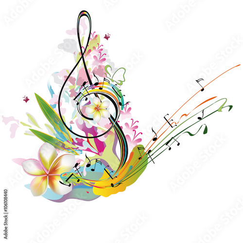 """""""Musical treble clef with notes, flower splashes. Summer ..."""