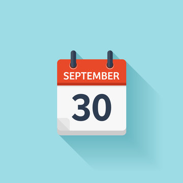 September  30. Vector flat daily calendar icon. Date and time, day, month. Holiday.