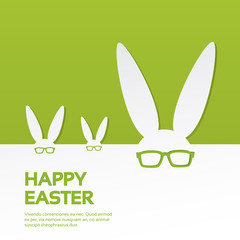 Rabbit Ears Wear Glasses Group Happy Easter Holiday Banner Copy Space