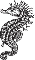 Sea horse, black and white vector illustration