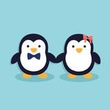 Cartoon penguins holding hands - photo#29