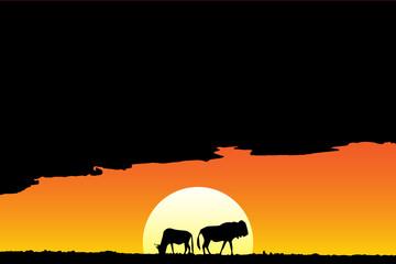 Savannah sundown antelope silhouette