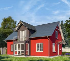 Ein rot-schwarzes Einfamilienhaus in blühender Natur.