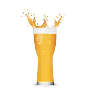 Illustration of glass cold beer.splashing beer on white backgrou