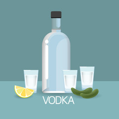 Vodca Bottle Glass With Cucumber Lemon Slice Alcohol Drink Icon Flat