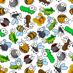 Cartoon insects seamless pattern of bees and butterflies, caterpillars and flies, spiders and ladybugs, mosquitoes and bugs, dragonflies, ants and grasshopper. Childish interior, textile, print design