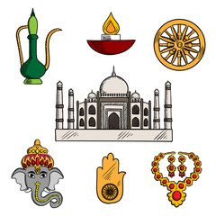Indian travel,religion and culture icons with Taj Mahal, surrounded by god Ganesha and gold jewelry, diwali lamp and copper teapot, lucky amulet of hamsa hand and ashoka chakra symbols. Sketch style