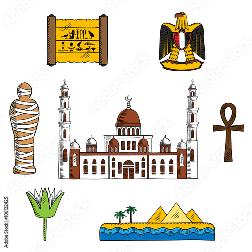 Ancient And Modern Egypt Symbols For Travel Design With Pharaoh