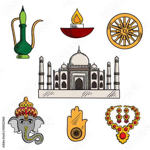Indian Travelreligion And Culture Icons With Taj Mahal Surrounded