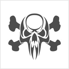 Skull and crossbones - isolated on white