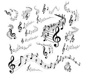 Musical staves on white