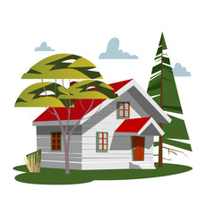 House in nature. Trendy flat style, vector illustrations, landscape