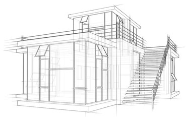 Architecture sketch drawing house