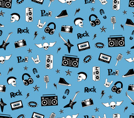 Seamless pattern. Punk rock music isolated on blue background. Doodle style elements, emblems, badges, logo and icons.