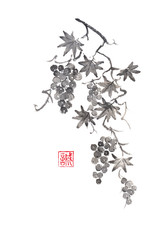 Grapevine Japanese style original sumi-e ink painting.