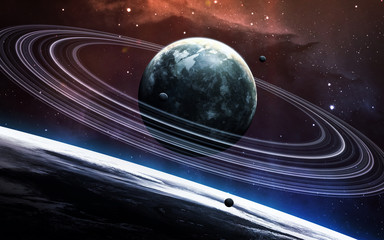 Fototapete - Universe scene with planets, stars and galaxies in outer space showing the beauty of space exploration. Elements furnished by NASA