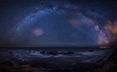 Long time exposure night landscape with Milky Way Galaxy above the Black sea