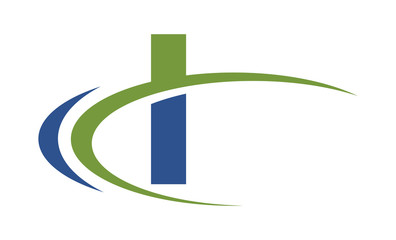 I swoosh blue green letter logo